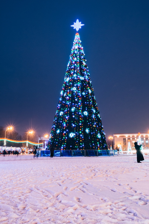 New Year tree in the center of the square Stock Photo