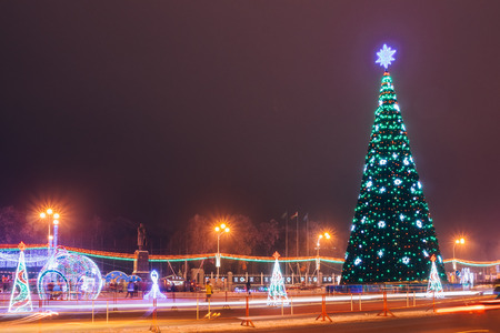 The city square in the evening. New Year