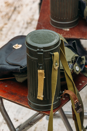Container for the gas mask of the Second World War Stock Photo