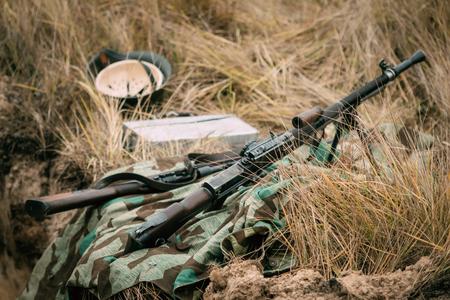 Czech machine gun in dry grass. WW2