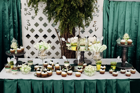 A candy bar at a wedding in green tones Stock Photo