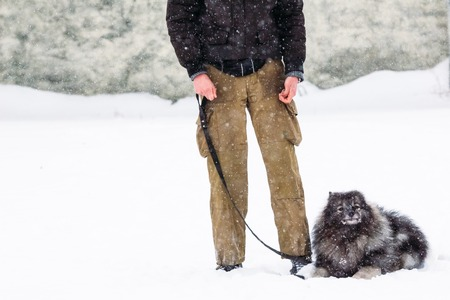 A man with a keeshond breed dog in winter Stock Photo