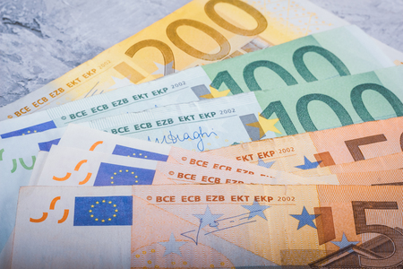Euro cash close-in banknotes