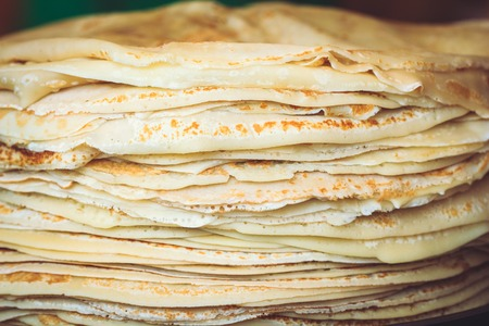 A stack of fresh pancakes close-up