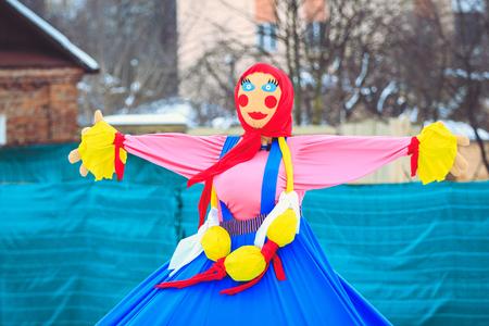 Traditional Maslenitsa doll at the festival Reklamní fotografie