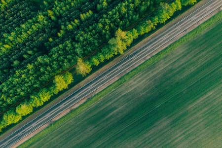 Top view on the highway with forest and field. Summer Background