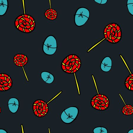 Easter eggs and candy seamless pattern. Easter seamless pattern with dark blue background, red candy and light blue eggs. Stock vector illustration. Seamless pattern for your concept idea. Eps 10. Ilustracja