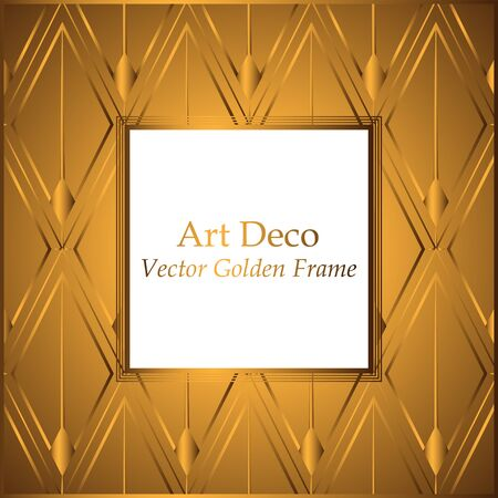 Art Deco golden rhombuses pattern frame. Square frame with white place for your text. Gold pattern on a gold background. Vintage vector frame for invitations, greeting cards, covers. Geometric pattern