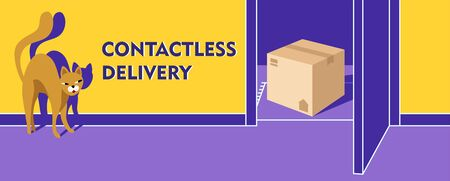 Contactless delivery banner. Violet open door. A craft box stands on the doorstep. Cartoon cat is looking out of the room at the delivered box. Vector stock illustration with a warm yellow background.