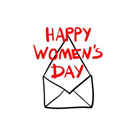 Isolate letter with red happy womens day out of it. Vector illustration on a white background. Sketch letters for greeting cards send women and men. Isolate open letter. Illustration