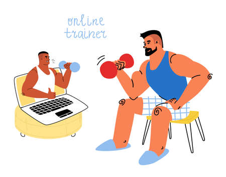 Cartoon fit man in home clothes is training online with a personal trainer using a laptop computer.
