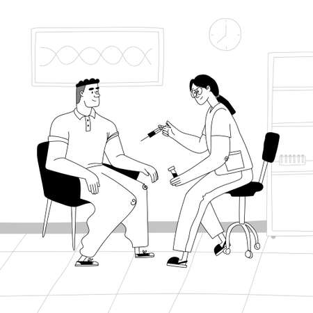 Vaccination concept. A nurse inoculates a man in a hospital. The doctor holds in his hand a syringe with a vaccine. Vector stock illustration black outline on a white background.