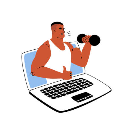 Cartoon tanned sports trainer teaches online via laptop. Online sports training from home. Vector stock illustration workout. The coach shows a thumb up and shakes the biceps from the computer.