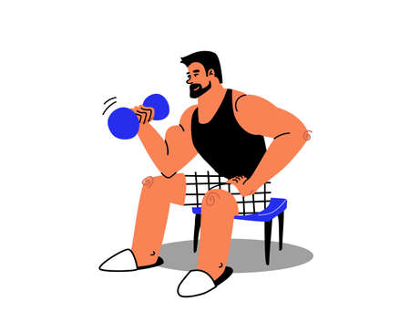 Cartoon muscular man exercising at home in slippers. A tanned contented man in a black T-shirt shakes his biceps on a chair. Vector stock illustration of home sports with dumbbells.