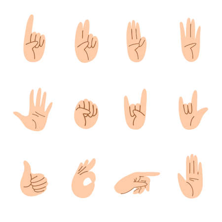 Set of cartoon hands of different gestures. Light skin hand movements one finger, two, three, four, five, fist, thumb up and others. Vector stock illustration isolated on white background.