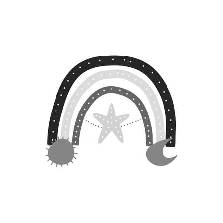 Cute black and white rainbow isolated. Hand drawn doodle rainbow with star, moon and sun. Popular vector stock illustration on white background. Vettoriali