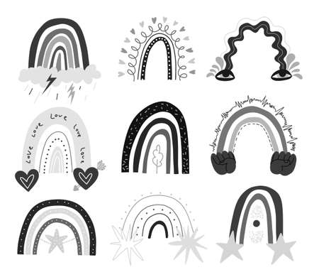 Set of hand drawing rainbow abstract shapes. Monochrome like children's drawings with stars, hearts, rain, eyes and hands. Vector stock illustration isolated on white background.