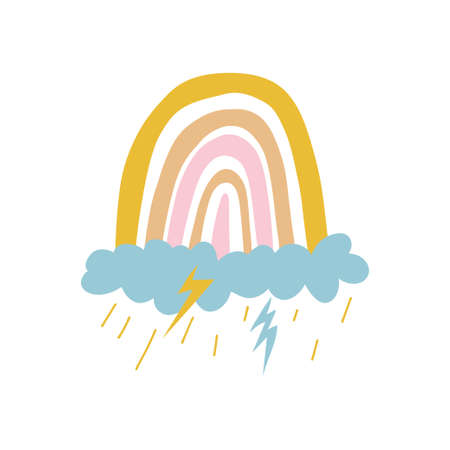 A colored rainbow of yellow and pink tones stands on a blue cloud. Rain pours from the cloud and lightning flashes. Cute vector stock illustration isolated on white background.