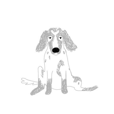 Doodle dog with long ears, large black nose. The hand-drawn spaniel sits with its legs apart and looks into the eyes. Vector stock illustration isolated on white background.
