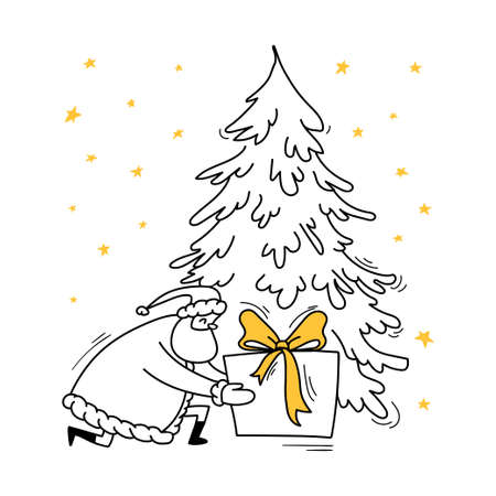 Santa Claus sat down under a fir tree to place a large gift with a yellow bow. Doodle Santa, hand-drawn, knelt to put a surprise under the tree. Vector stock illustration black on white isolated.
