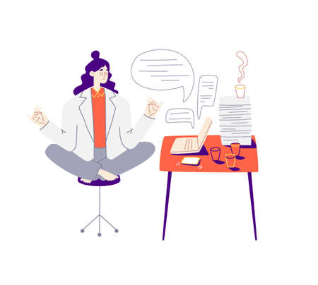 Girl meditates at the red workplace. Young woman with purple hair sits in a lotus position in a suit. It has a laptop, a phone, a huge pile of papers and a lot of coffee. Vector stock illustration.