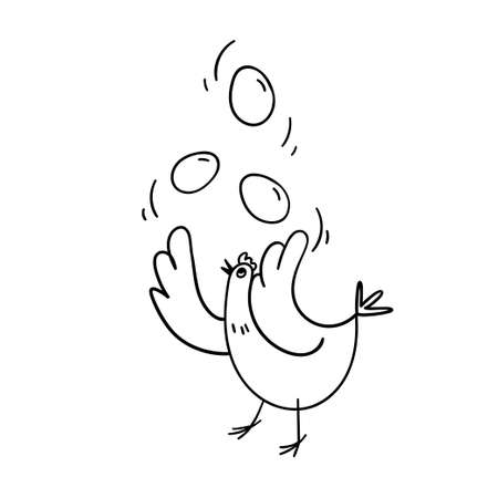 A hand-drawn chicken juggles with three eggs. Black on white vector illustration of poultry with eggs in the air. Cheerful stock illustration in doodle style.