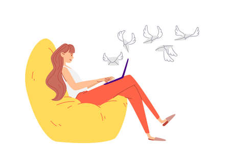 The girl sends Internet letters online. A young woman in red trousers sits in a large soft armchair with a laptop on her lap. Winged letters fly to the Internet address. Vector stock illustration.