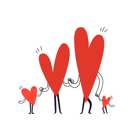 Family of characters in the shape of hearts are holding hands. Hand drawn doodle family with two children are standing in a row. Vector stock illustration in cartoon style on a white background.