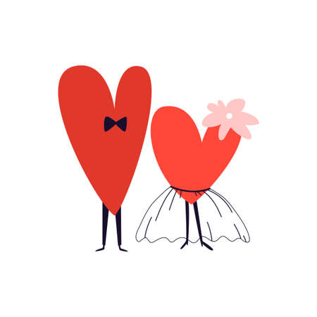 Newlyweds hand-drawn hearts. Cartoon couple of hearts in a tutu skirt and bow tie. Vector illustration of newlywed characters standing side by side on white isolated background.