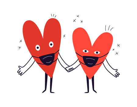 Hand-drawn two hearts in protective masks hold hands. A cute surprised couple are standing in front of them wearing dark medical masks. Vector stock illustration in cartoon style on a white background