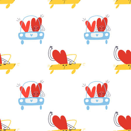 Seamless pattern with cartoon hearts on a trip. A lover rushes in a yellow car next to a family in a blue car. Vector stock illustration isolated on white background.