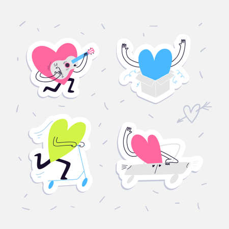 Mini sticker pack with hearts in love. Set of vector colored characters in the form of hearts on a car and a scooter, in love playing the guitar and jumping out of the box surprise. Stock illustration