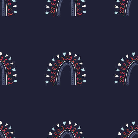 Rainbow seamless pattern. Simple tiled rainbow pattern with hearts and thin lines. Vector stock illustration on dark blue background.