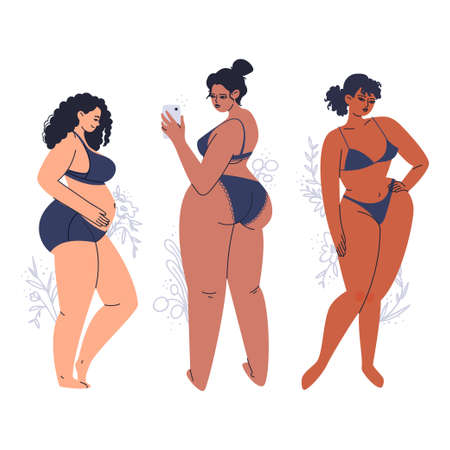 Young tanned women posing in lingerie. A variety of full-bodied adult girls in dark swimwear. Hand-drawn plus size brunettes with flowers. Vector stock illustration isolated on white background.
