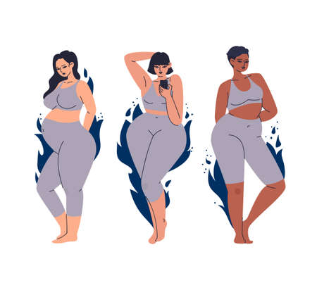 Women of diverse looks, different skin colors. Multicultural female characters in a gray tight-fitting tracksuit. Set of overweight women on a background of blue flames isolated on white.