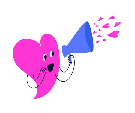 A cheerful pink heart sends many small hearts through the blue horn. A cute heart-shaped character shouts into a loudspeaker. Vector illustration in cartoon style isolated on white background.