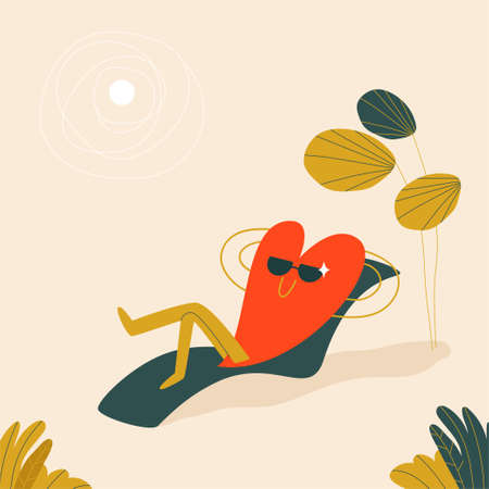 A red heart in sunglasses lies on a sun lounger under a palm tree and a white sun. A cute character in the form of a heart is resting on a light sandy beach. Vector illustration in cartoon style. Vektorové ilustrace