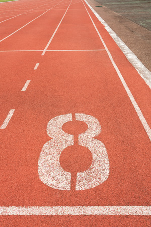 number eight: Running track on sport stadium number eight