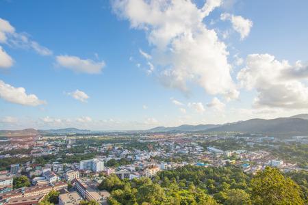 rang: Phuket Town top view from Khao Rang hill in sunny day