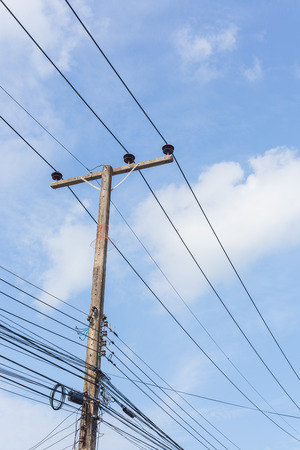 megawatt: Electricity post in blue sky at country