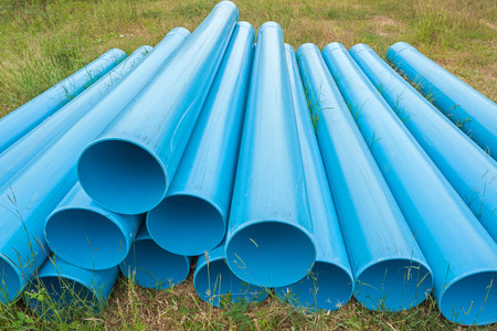 filed: Blue pipes for construction on filed