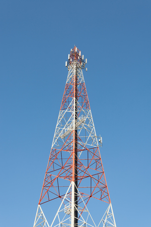 high frequency: Communications tower with a blue sky Stock Photo