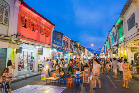 phuket food: Unidentified tourists are shopping at old town night market is called Lard Yai in Phuket, Thailand.