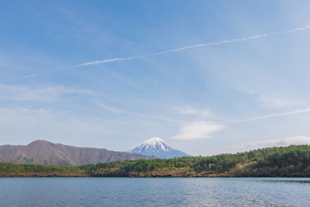saiko: Mount Fuji from lake Saiko in spring Stock Photo