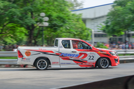 Phuket, Thailand - July 3, 2016: Competition Toyota Hilux Revo of Toyota One Make Race in Toyota Motor Sport 2016 event with motion blur at Saphan Hin, Phuket, Thailand Editorial