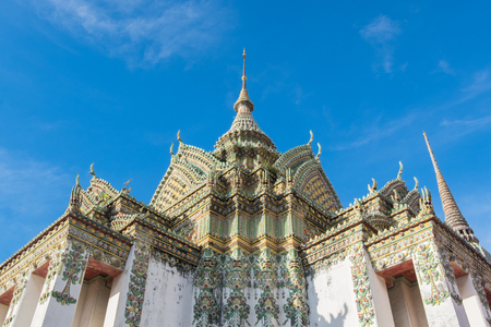 wat pho: Thai architecture in Wat Pho temple at Bangkok, Thailand.. Stock Photo