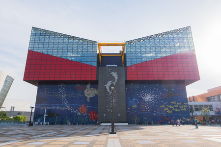 public aquarium: Osaka, Japan - April 26, 2016: Aquarium Kaiyukan. It is one of the largest public aquariums in the world in Osaka, Japan