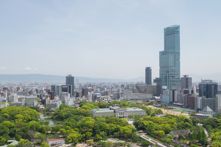 Aerial view of Osaka from Tsutenkaku Tower, Japan