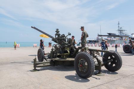 navy pier: Phuket, Thailand - Jan 14, 2017:  artillery GHN-45A1 on the Childrens Day in port of Phuket, Thailand