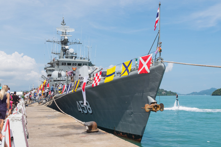 famous industries: Phuket, Thailand - Jan 14, 2017: Frigate H.T.M.S. Saiburi (FF-458) on the Childrens Day in port of Phuket, Thailand